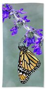 Monarch On Purple Beach Towel
