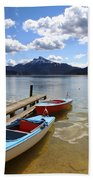 Mondsee Lake Boats Beach Towel