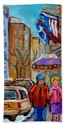 Montreal Street Scenes In Winter Beach Towel by Carole Spandau