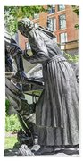 Mormon History - Hand Cart Statue Beach Towel by Gary Whitton