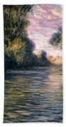Morning On The Seine Beach Towel by Claude Monet