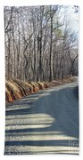 Morning Shadows On The Forest Road Beach Towel