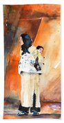 Moroccan Woman Carrying Baby Beach Towel