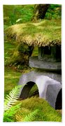 Mossy Japanese Garden Lantern Beach Towel