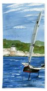 Moth Sailing At Castle Hill Light Beach Towel