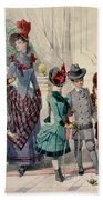 Mother And Children In Indoor Costume Beach Towel