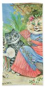 Mother Cat With Fan And Two Kittens Beach Towel