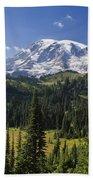 Mount Rainier With Coniferous Forest Beach Towel