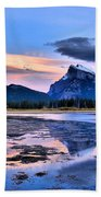 Mount Rundle In The Evening Beach Towel