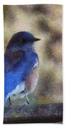 Mountain Bluebird Painterly Beach Towel