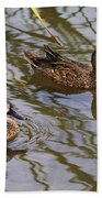 Mr And Mrs Blue Wing Teal Beach Towel