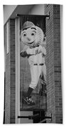 Mr Met In Black And White Beach Towel by Rob Hans