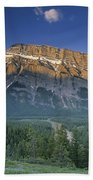 Mt Rundle And The Bow River Beach Towel
