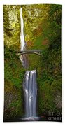 Multnomah Falls At Summer Solstice - Posterized Beach Towel