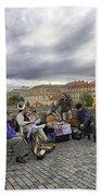 Musicians On The Charles Bridge - Prague Beach Sheet