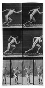 Muybridge Locomotion, Man Running, 1887 Beach Towel