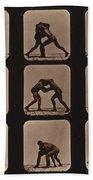 Muybridge Locomotion, Men Wrestling Beach Towel