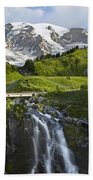 Myrtle Falls And Mount Rainier Mount Beach Towel by Tim Fitzharris