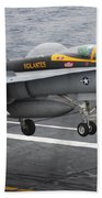 N Fa-18f Super Hornet Lands Aboard Beach Towel