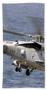 N Hh-60h Sea Hawk Helicopter In Flight Beach Towel