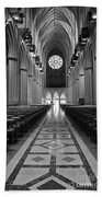 National Cathedral Interior Bw Beach Towel