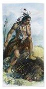 Native American Hunter Beach Towel
