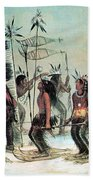 Native American Indian Snow-shoe Dance Beach Towel