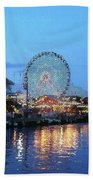 Navy Pier Chicago Digital Art Beach Towel