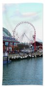 Navy Pier Chicago Summer Time Beach Towel