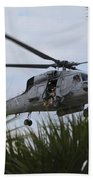 Navy Seals Look Out The Helicopter Door Beach Towel