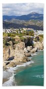 Nerja Town On Costa Del Sol In Spain Beach Towel