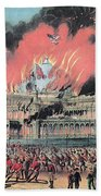 New York Crystal Palace Fire, 1858 Beach Towel by Photo Researchers