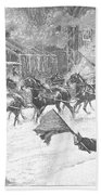 New York: Snowstorm, 1887 Beach Towel