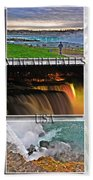 Niagara Falls Usa Triptych Series With Text Beach Towel