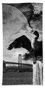 Night Of The Cormorant . Black And White Beach Towel