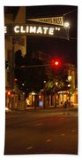 Night Scene At 6th And G Beach Towel