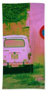 No Parking Sign With Pink Car Beach Towel