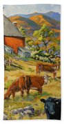 Nostalgia Cows Painting By Prankearts Beach Towel