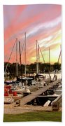 Oak Pt Harbor At Sunset Beach Towel