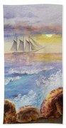 Ocean Waves And Sailing Ship Beach Towel