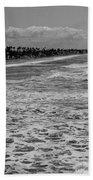 Oceanside In Black And White Beach Towel