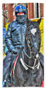 Officer And Black Horse Beach Towel