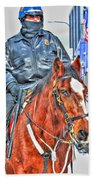 Officer On Brown Horse Beach Towel