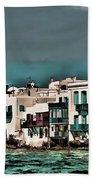 Oill Paint Effect Mykonos Greece Beach Towel