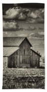 Old Barn After The Storm Black And White Beach Towel