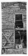 Old Barn Door In Black And White Beach Towel