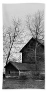 Old Barn In Monochrome Beach Towel