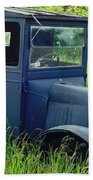 Old Blue Ford Truck Beach Towel