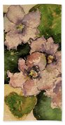 Old-fashioned African Violets Beach Towel