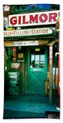 Old Fashioned Filling Station Beach Towel